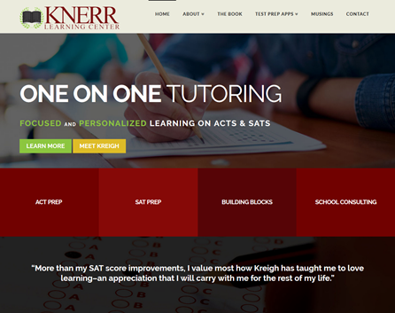 Knerr Tutoring website designed by iNET Web.