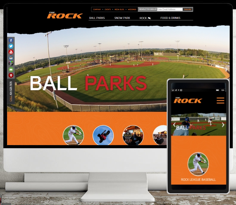 Rock Sports Complex in Franklin, WI got a custom built website to help drive traffic