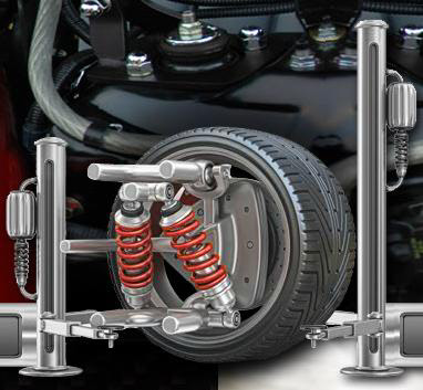 Graphically animated website imagery of a hydraulic jack hoisting a car tire!