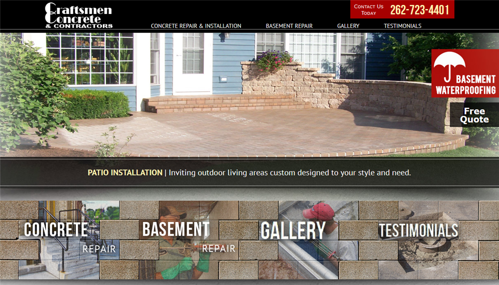 Craftsmen Concrete Home Page designed by iNET Web