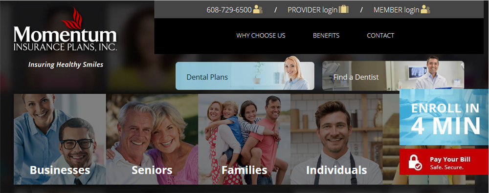 Momentum Dental Plans website created by iNET Web