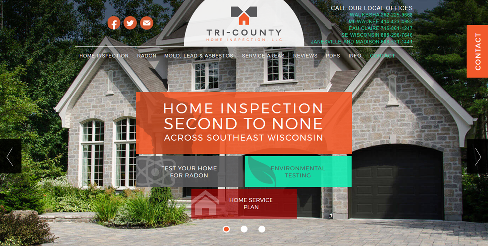Tri County Home Inspection website designed by iNET Web