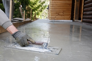 Leveling concrete for a patio