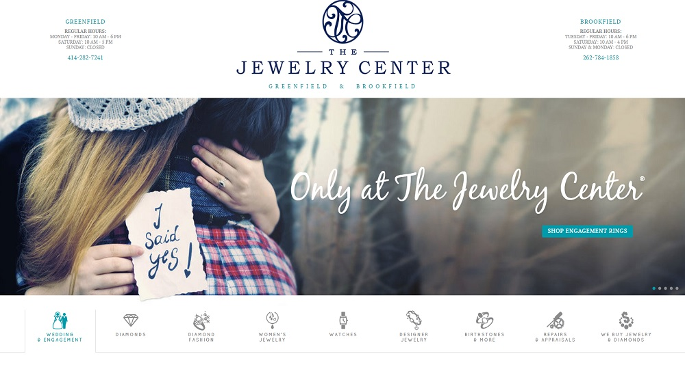 The Jewelry Center home page.