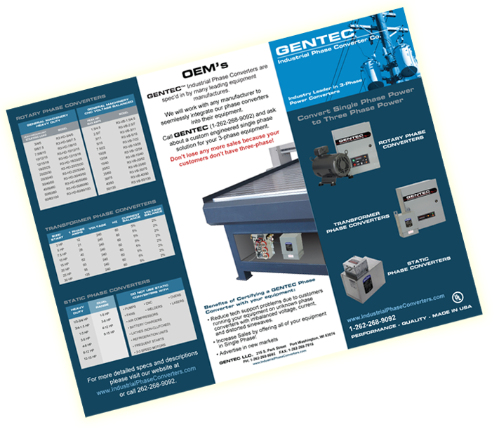 brochure for Industrial Phase Converters GENTEC