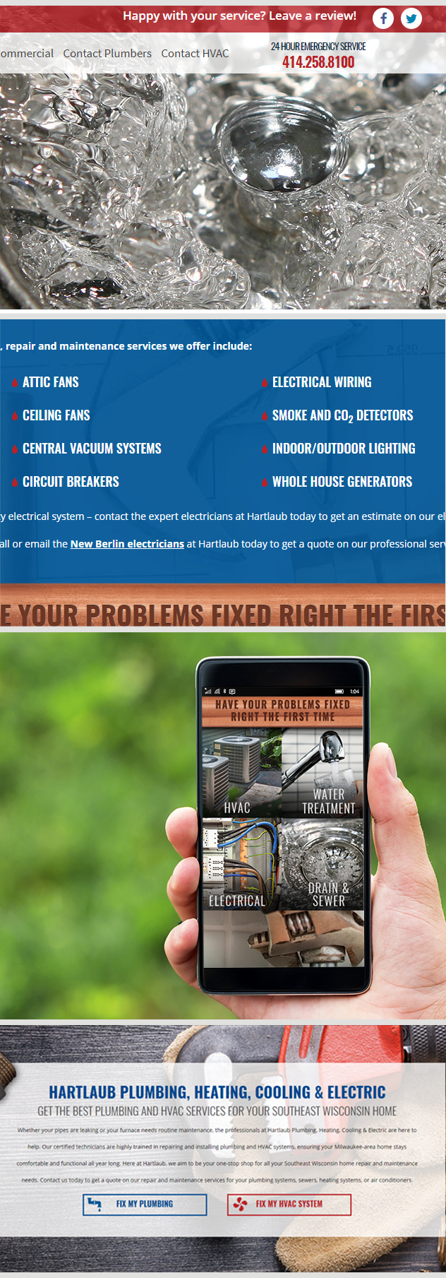 Milwaukee web marketing for Hartlaub Plumbing, Heating, Cooling and Electric Company