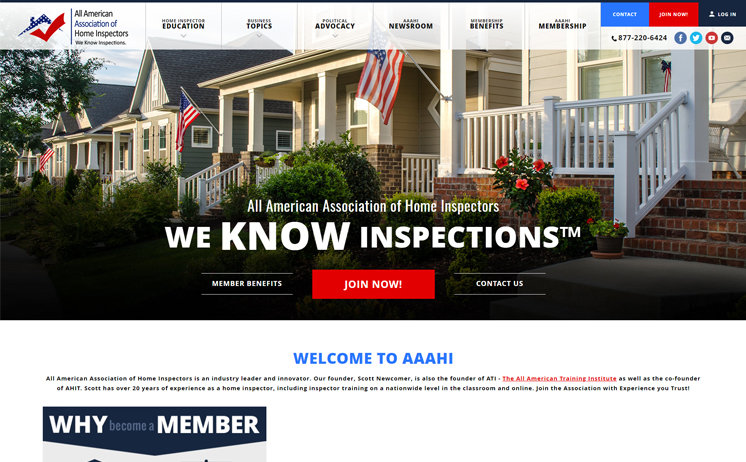 All American Association of Home Inspectors increases membership with website design and SEO