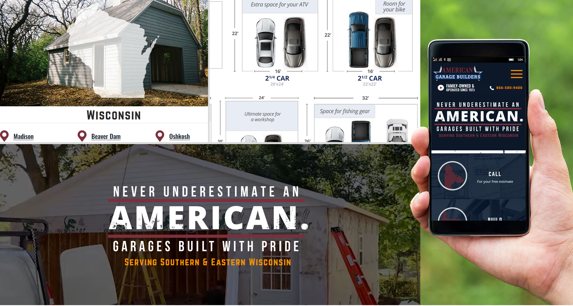 Milwaukee web design and development for American Garage Builders