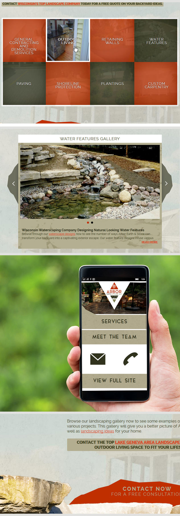 Website deisgn by iNET for Arbor Earth & Stone