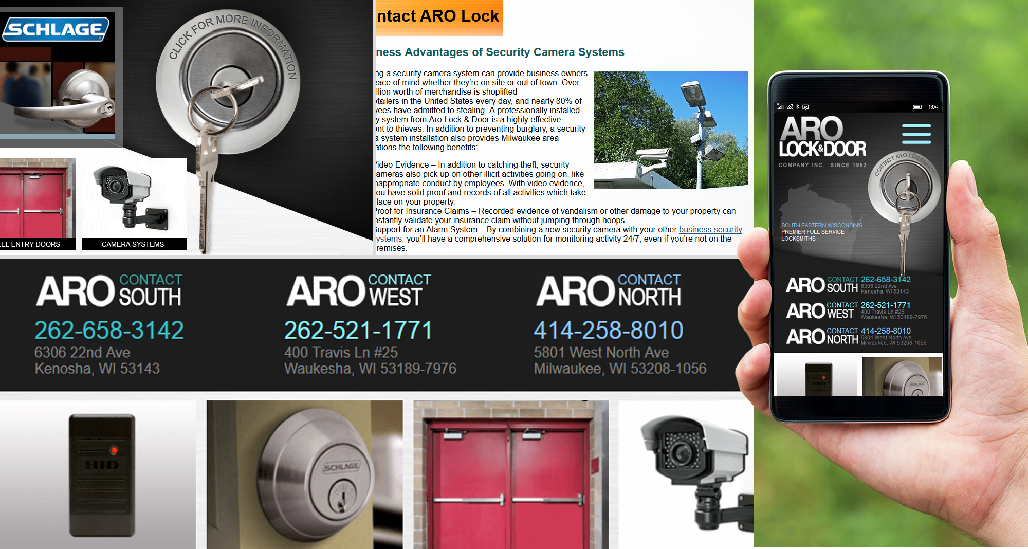 Milwaukee web marketing for Aro Lock & Door Company