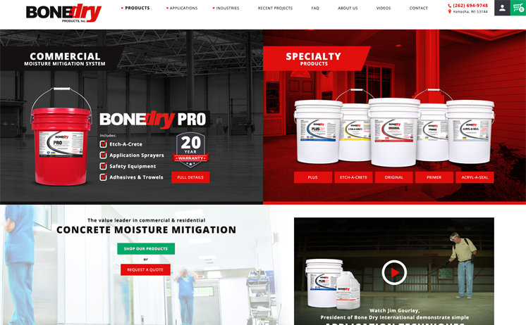 Custom website design for manufacturer of commerical moisture mitigation products