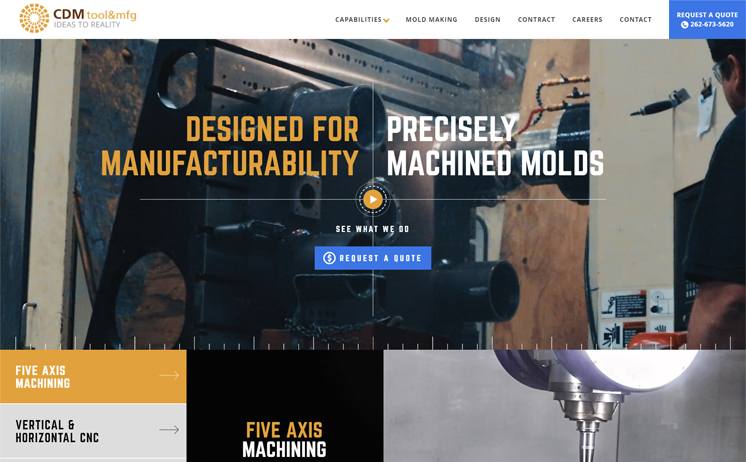 CDM Tool & Mfg website was built from the ground up with a completely unique design