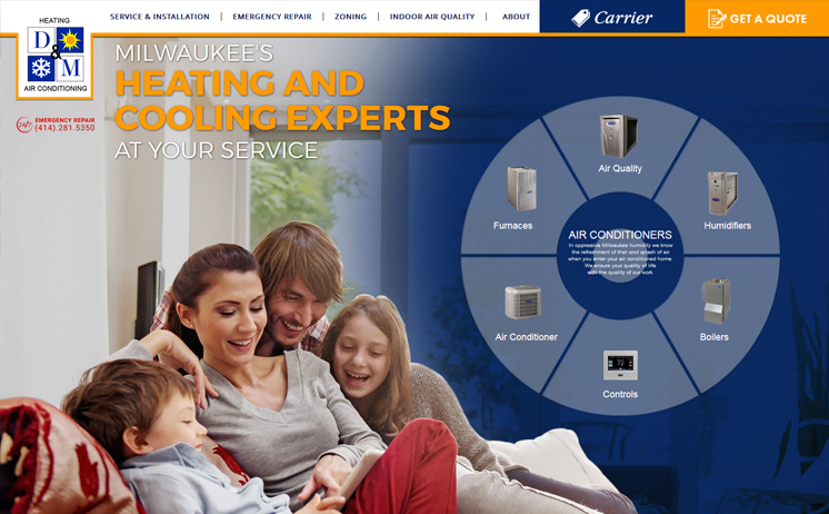 Milwaukee website design, development and marketing professionals deliver winning results for HVAC company