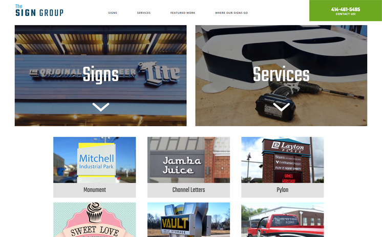 Waukesha sign contractor company succeeds with  iNET's creative internet marketing and web design