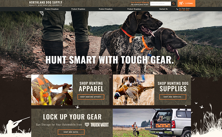 Wisconsin bird dog hunting supplies and hunting product online retailer succeeds with iNETs creative genius website