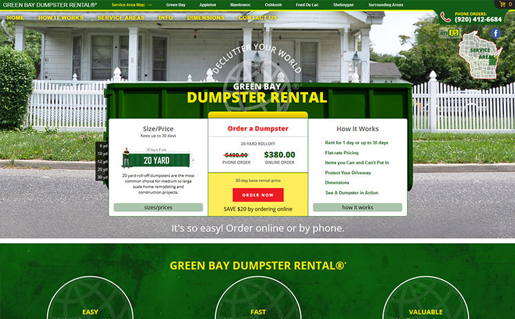 Green Bay dumpster rental provider hauls in the benefits of an attractive website by iNET
