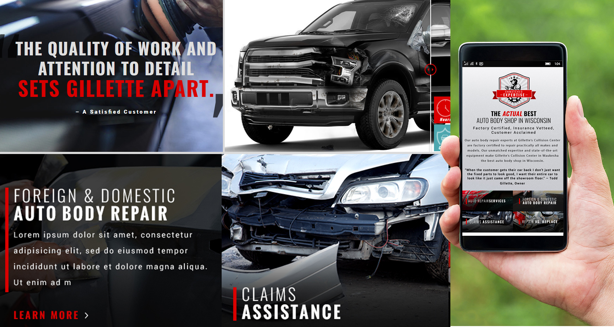 Milwaukee web marketing for Gillette's Collision Center