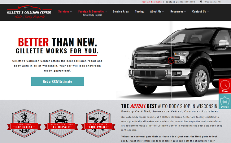 Waukesha auto body repair increases buisiness with website design and SEO