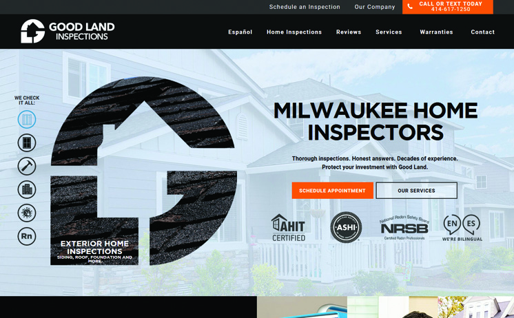 Good Land Home Inspections increases business with website design and SEO