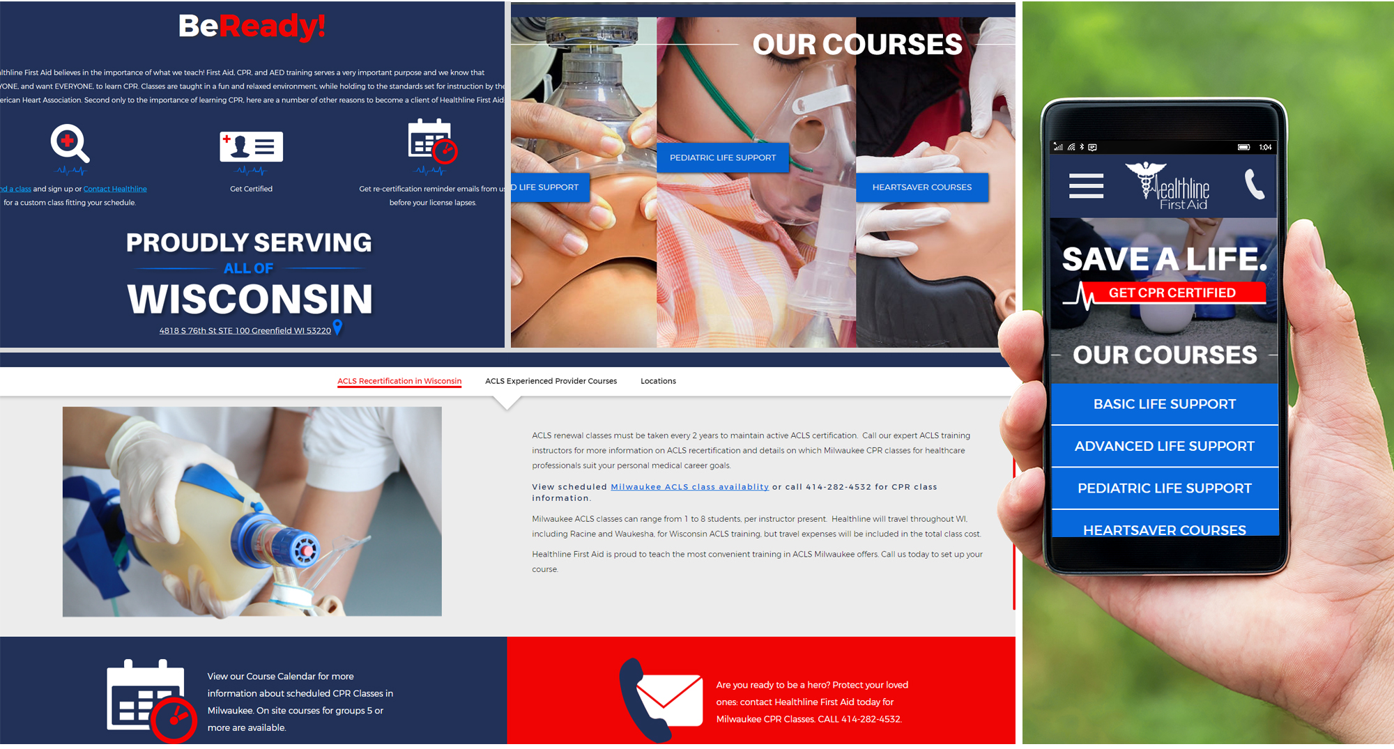 Milwaukee web marketing for Healthline First Aid