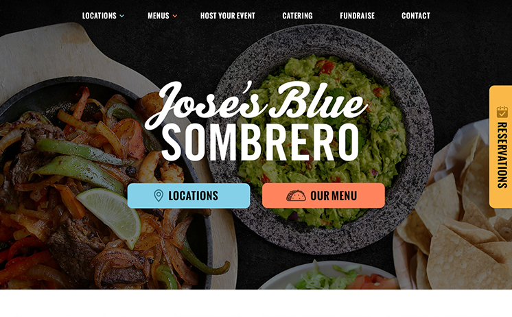 Jose's Blue Sombrero Home Page Screenshot