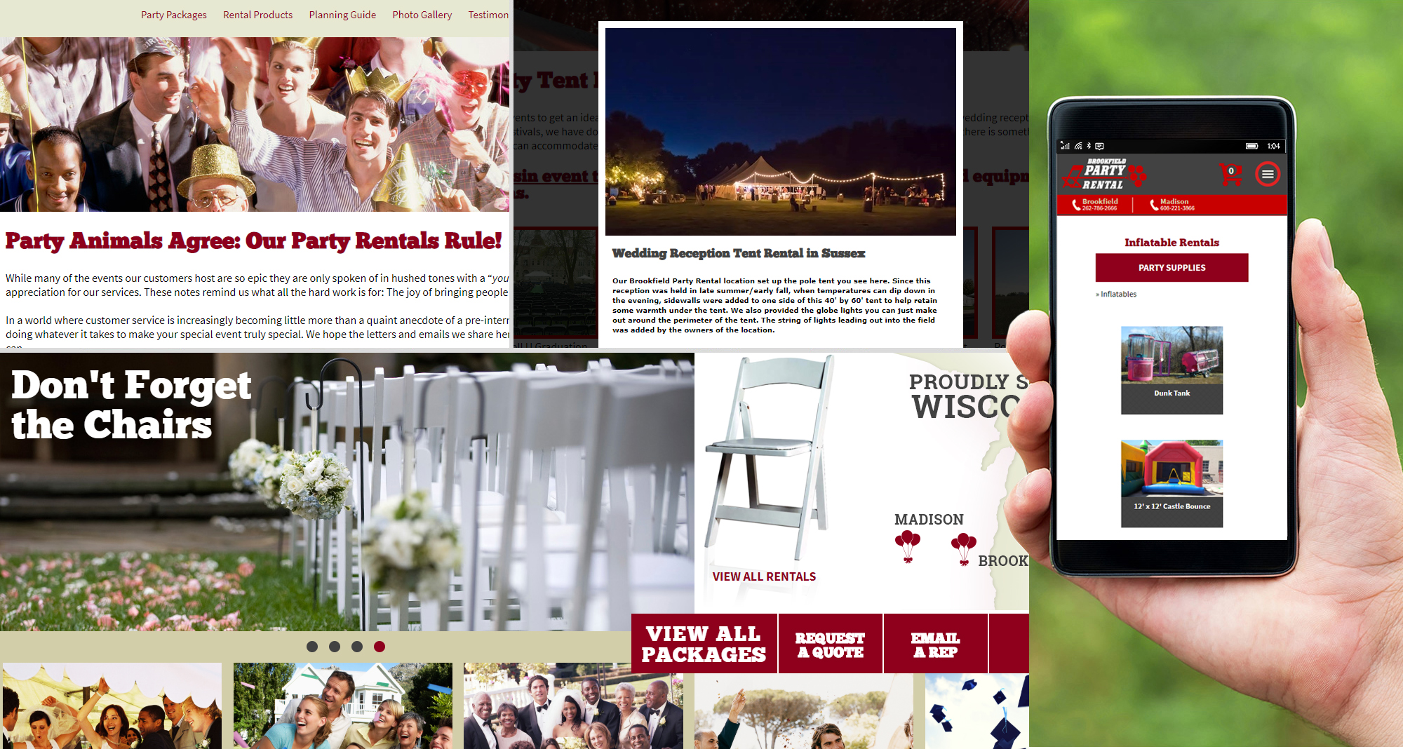 Milwaukee web marketing for Brookfield Party Rental / Madison Party Rental