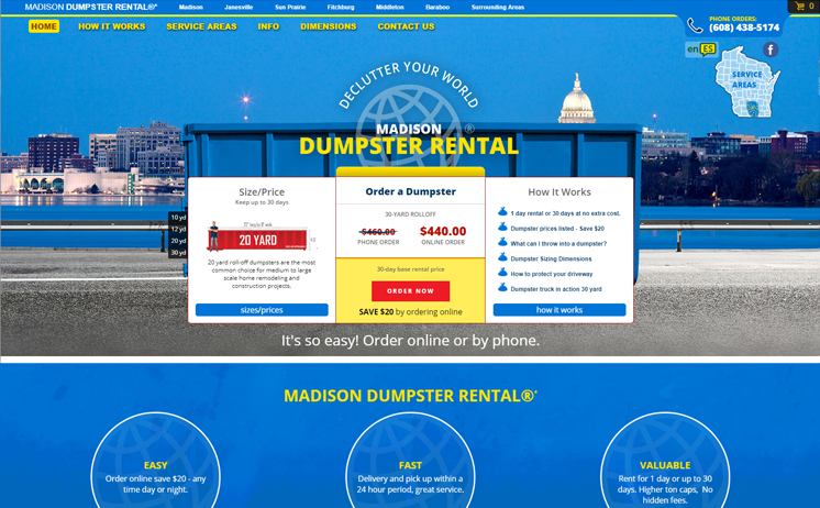 Madison dumpster rental provider hauls in benefits of an attractive website by iNET