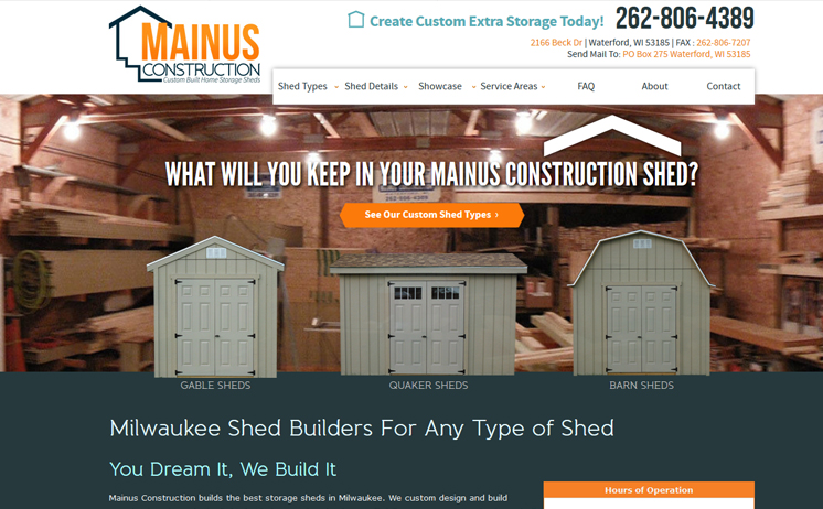 Wisconsin storage shed contractor prospers with iNET's web design and marketing techniques