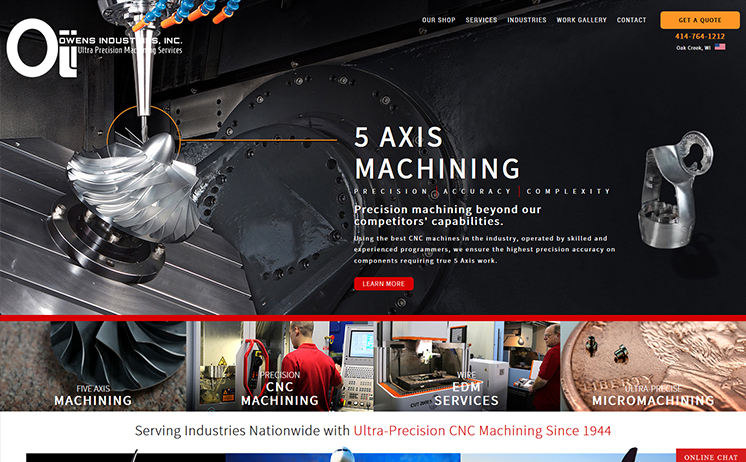 Wisconsin precision machining shop relies on iNET's innovative website marketing strategies in reaching out to customers Nationwide
