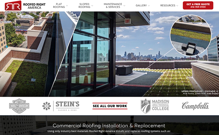 Commercial and industrial flat roofing installation, repair and inspections Milwaukee website design