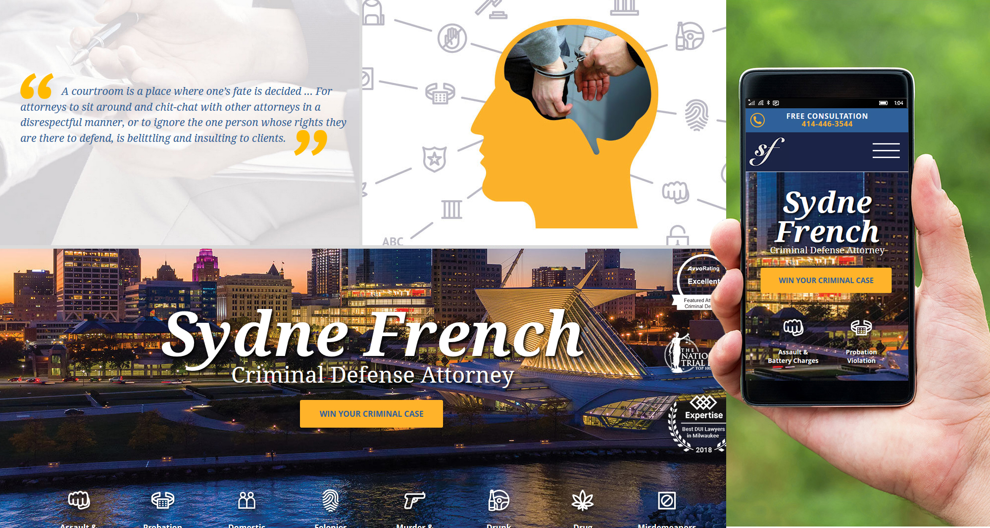 Milwaukee web marketing for The Law Offices of Sydne French