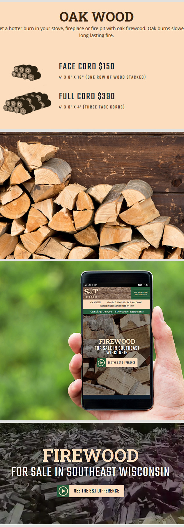 Milwaukee web design and development for S&T Firewood