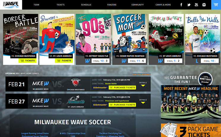 Milwaukee Wave scores goals with INET custom website designers and marketing team